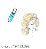 Купить «Hairdresser fixing woman hair with hairspray», фото № 19433392, снято 19 января 2020 г. (c) easy Fotostock / Фотобанк Лори