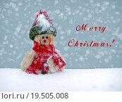 Купить «Merry Christmas postcard with a snowman in the snow», фото № 19505008, снято 19 марта 2019 г. (c) PantherMedia / Фотобанк Лори