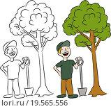 Купить «Tree Planting Man», фото № 19565556, снято 17 февраля 2019 г. (c) easy Fotostock / Фотобанк Лори