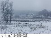 Купить «Сельский вид в морозный день при температуре ниже -25 градусов», фото № 19689028, снято 8 января 2016 г. (c) Николай Винокуров / Фотобанк Лори