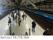 Купить «Interior of metro station Sagrera in Barcelona, Spain.», фото № 19715164, снято 28 ноября 2015 г. (c) Яков Филимонов / Фотобанк Лори