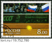 RUSSIA - 2003: shows Tennis ball and fans on tribunes, on court of a hall of Bercy - Winners of the Davis Cup 2002. Стоковое фото, фотограф Zoonar/O.Popova / easy Fotostock / Фотобанк Лори