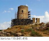 Купить «Genoese fortress Cembalo, Balaklava, Crimea, Ukrai», фото № 19841416, снято 25 апреля 2018 г. (c) easy Fotostock / Фотобанк Лори
