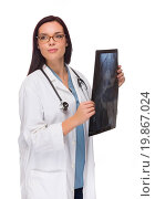 Купить «Female Doctor or Nurse with X-Ray Looking To The Side», фото № 19867024, снято 20 января 2019 г. (c) easy Fotostock / Фотобанк Лори