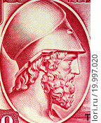 Купить «Themistocles (524-459 BC) on 100 Drachmai 1955 Banknote from Greece. Athenian politician and general. One of the generals in the battle of Marathon and naval general in the Battle of Salamis.», фото № 19997020, снято 18 июля 2019 г. (c) easy Fotostock / Фотобанк Лори