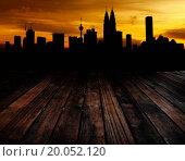 Купить «Wood textured backgrounds in a room balcony view. Kuala Lumpur is the capital city of Malaysia.», фото № 20052120, снято 17 марта 2011 г. (c) easy Fotostock / Фотобанк Лори