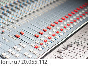 Купить «Sound mixer in recording studio, closeup.», фото № 20055112, снято 13 сентября 2013 г. (c) easy Fotostock / Фотобанк Лори