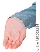 front view of hollow palm hand gesture. Стоковое фото, фотограф Zoonar/Valery Voenny / easy Fotostock / Фотобанк Лори