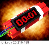 Купить «Dynamite Deadline Time Shows Urgency Or Explosion», фото № 20216488, снято 2 декабря 2012 г. (c) easy Fotostock / Фотобанк Лори