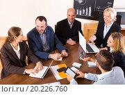 Купить «Positive brainstorming in office», фото № 20226760, снято 18 февраля 2019 г. (c) Яков Филимонов / Фотобанк Лори