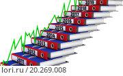 Купить «Ступени из канцелярских папок, маркированные 2011-2019 годами, с графиком», иллюстрация № 20269008 (c) WalDeMarus / Фотобанк Лори