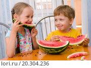 Купить «boy and girl eat ripe watermelon», фото № 20304236, снято 24 июля 2009 г. (c) easy Fotostock / Фотобанк Лори