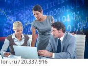 Купить «Composite image of business people using laptop», фото № 20337916, снято 26 мая 2019 г. (c) Wavebreak Media / Фотобанк Лори
