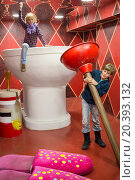 Купить «RUSSIA, MOSCOW - 04 NOV, 2014: Two children (with model releases) in large toilet at Giants house.», фото № 20393132, снято 4 ноября 2014 г. (c) Losevsky Pavel / Фотобанк Лори