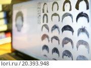 Купить «Examples of different hair for identikit on display.», фото № 20393948, снято 14 ноября 2014 г. (c) Losevsky Pavel / Фотобанк Лори