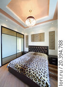 Купить «Modern bedroom in the Greek style with leopard print on the walls and bed», фото № 20394788, снято 26 мая 2014 г. (c) Losevsky Pavel / Фотобанк Лори