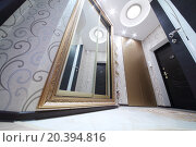 Купить «Interior hallway with entrance door and sliding mirror wardrobe, bottom view», фото № 20394816, снято 26 мая 2014 г. (c) Losevsky Pavel / Фотобанк Лори