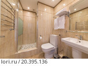 Купить «ADLER, RUSSIA - JULY 21, 2014: Interior bathroom of a hotel room in El Paraiso hotel», фото № 20395136, снято 21 июля 2014 г. (c) Losevsky Pavel / Фотобанк Лори