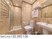 Купить «ADLER, RUSSIA - JULY 21, 2014: Interior bathroom of a hotel room in El Paraiso hotel», фото № 20395136, снято 21 июля 2014 г. (c) Losevsky Pavel / Фотобанк Лори