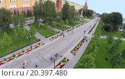 Купить «MOSCOW - AUG 12, 2014: Alexandr Garden along the Kremlin wall, aerial view. It is a favorite place to walk for Moscow residents and guests», фото № 20397480, снято 12 августа 2014 г. (c) Losevsky Pavel / Фотобанк Лори