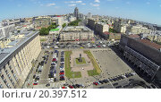 Купить «RUSSIA, MOSCOW - MAY 23, 2014: Traffic on Triumph Square at spring sunny day. Aerial view», фото № 20397512, снято 23 мая 2014 г. (c) Losevsky Pavel / Фотобанк Лори