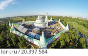 Купить «RUSSIA, MOSCOW – JUL 12, 2014: Complex of New-Jerusalem Monastery near road. Aerial view (Photo with noise from action camera)», фото № 20397584, снято 12 июля 2014 г. (c) Losevsky Pavel / Фотобанк Лори