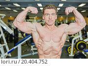 Купить «Bodybuilder poses demonstrating tense muscles in gym hall», фото № 20404752, снято 4 апреля 2013 г. (c) Losevsky Pavel / Фотобанк Лори