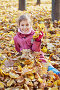 Smiling little girl in red jacket sits in drift of maple fallen yellow leaves in autumn park, фото № 20406296, снято 13 октября 2013 г. (c) Losevsky Pavel / Фотобанк Лори