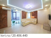 Купить «Beautiful modern living room with sofa, TV and conditioner.», фото № 20406440, снято 14 января 2014 г. (c) Losevsky Pavel / Фотобанк Лори