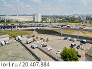 Section of road junction with car traffic. Стоковое фото, фотограф Losevsky Pavel / Фотобанк Лори