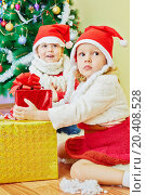 Little boy and girl in santa caps sit on furry rug under christmas tree with gift boxes, фото № 20408528, снято 24 ноября 2013 г. (c) Losevsky Pavel / Фотобанк Лори