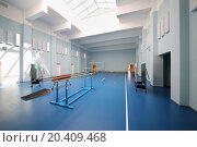 Empty school gymnasium with blue floor and gymnastic apparatus. Стоковое фото, фотограф Losevsky Pavel / Фотобанк Лори
