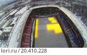 MOSCOW, RUSSIA - NOVEMBER 28, 2013: Bright lights at the stadium Lokomotiv, aerial view. Stadium capacity is 28,800 spectators, фото № 20410228, снято 28 ноября 2013 г. (c) Losevsky Pavel / Фотобанк Лори
