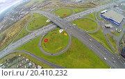 Купить «Schelkovskaya interchange MKAD in Moscow, Russia. View from unmanned quadrocopter», фото № 20410232, снято 27 октября 2013 г. (c) Losevsky Pavel / Фотобанк Лори