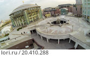 Купить «MOSCOW - OCT 11: View from unmanned quadrocopter to construction of fountain near the Moscow International House of Music with treble clef on the roof on October 11, 2013 in Moscow, Russia.», фото № 20410288, снято 11 октября 2013 г. (c) Losevsky Pavel / Фотобанк Лори