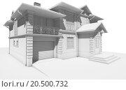 Перспектива - белый макет коттеджа, частного дома. Стоковое фото, фотограф Elizaveta Kharicheva / Фотобанк Лори