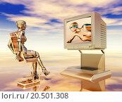 Купить «female robot with tv», фото № 20501308, снято 16 октября 2019 г. (c) PantherMedia / Фотобанк Лори