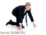 Купить «businessman in black suit in start position», фото № 20505752, снято 20 ноября 2018 г. (c) PantherMedia / Фотобанк Лори