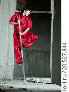 Купить «Shaolin warriors wushoo man in red practice martial art outdoor. Kung fu», фото № 20527844, снято 10 августа 2011 г. (c) easy Fotostock / Фотобанк Лори