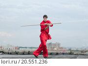 Купить «Shaolin warriors wushoo man in red practice martial art outdoor. Kung fu», фото № 20551236, снято 10 августа 2011 г. (c) easy Fotostock / Фотобанк Лори