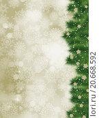 Купить «Элегантный рождественский фон с веточками ели и снежинками», иллюстрация № 20668592 (c) Владимир / Фотобанк Лори