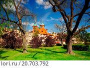 St.Lawrence church in spring park on Petrin hill in Prague. Стоковое фото, фотограф Zoonar/Radomir Rezny / easy Fotostock / Фотобанк Лори