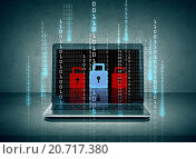 Купить «laptop with lock icons and binary code on screen», фото № 20717380, снято 14 ноября 2013 г. (c) Syda Productions / Фотобанк Лори
