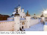 Купить «The Kremlin of Rostov the Great in winter, top view, Russia», фото № 20724824, снято 17 февраля 2015 г. (c) Наталья Волкова / Фотобанк Лори
