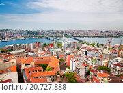 Купить «Aerial view of golden horn bay in turkish capital istanbul», фото № 20727888, снято 15 мая 2015 г. (c) Наталья Волкова / Фотобанк Лори