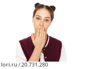 Купить «confused teenage girl covering her mouth by hand», фото № 20731280, снято 19 декабря 2015 г. (c) Syda Productions / Фотобанк Лори