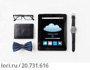 Купить «tablet pc with cloud computing and personal stuff», фото № 20731616, снято 30 июля 2015 г. (c) Syda Productions / Фотобанк Лори