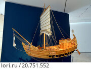 Купить «Exhibition ' Nutrire l'Impero. Storie di Alimentazione da Roma e Pompei ' the world of the feeding in the Imperial Rome, Roman ship model II-III century D.C., Ara Pacis Museum, Rome, ITALY-01-07-2015.», фото № 20751552, снято 1 июля 2015 г. (c) age Fotostock / Фотобанк Лори