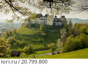 Купить «Spring afternoon at Lenzburg castle, canton of Aargau, Switzerland.», фото № 20799800, снято 24 апреля 2015 г. (c) age Fotostock / Фотобанк Лори