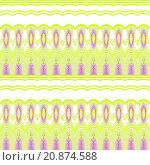 Купить «Abstract geometric background, seamless ellipses and stripes pattern purple and bright green on white», иллюстрация № 20874588 (c) PantherMedia / Фотобанк Лори